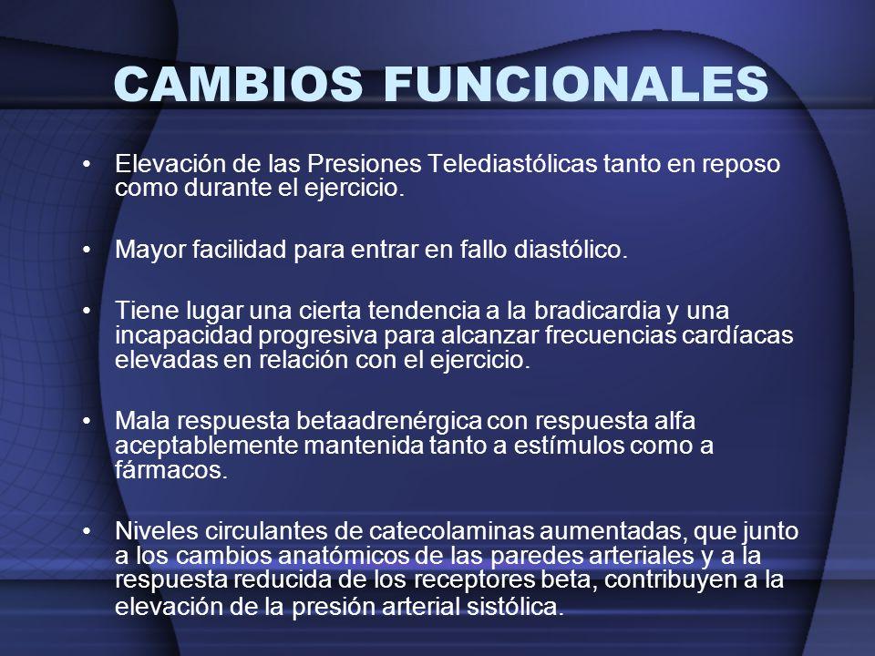 CAMBIOS FUNCIONALES Elevación de las Presiones Telediastólicas tanto en reposo como durante el ejercicio.