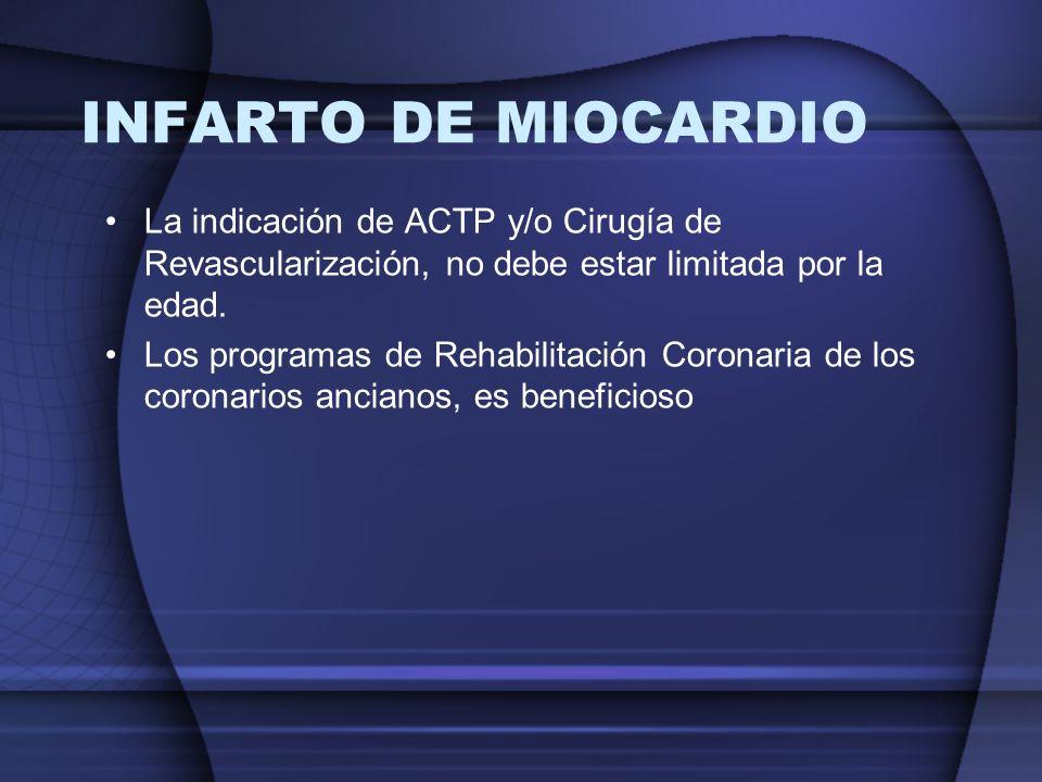 INFARTO DE MIOCARDIO La indicación de ACTP y/o Cirugía de Revascularización, no debe estar limitada por la edad.