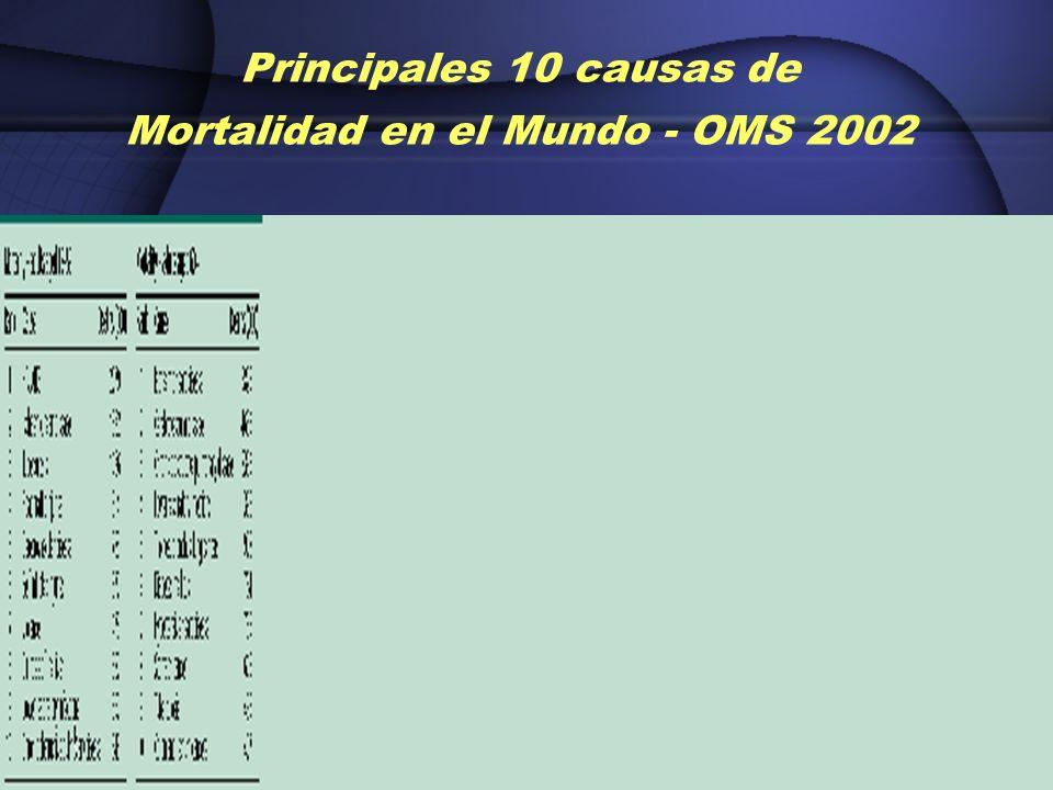 Principales 10 causas de Mortalidad en el Mundo - OMS 2002