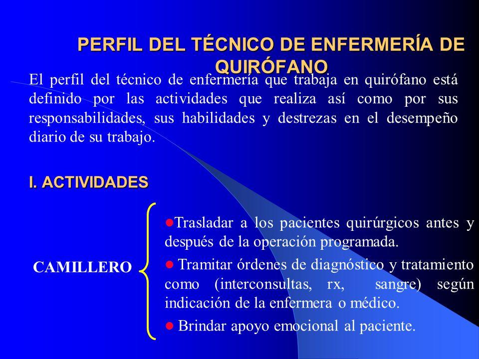 PERFIL DEL TÉCNICO DE ENFERMERÍA DE QUIRÓFANO