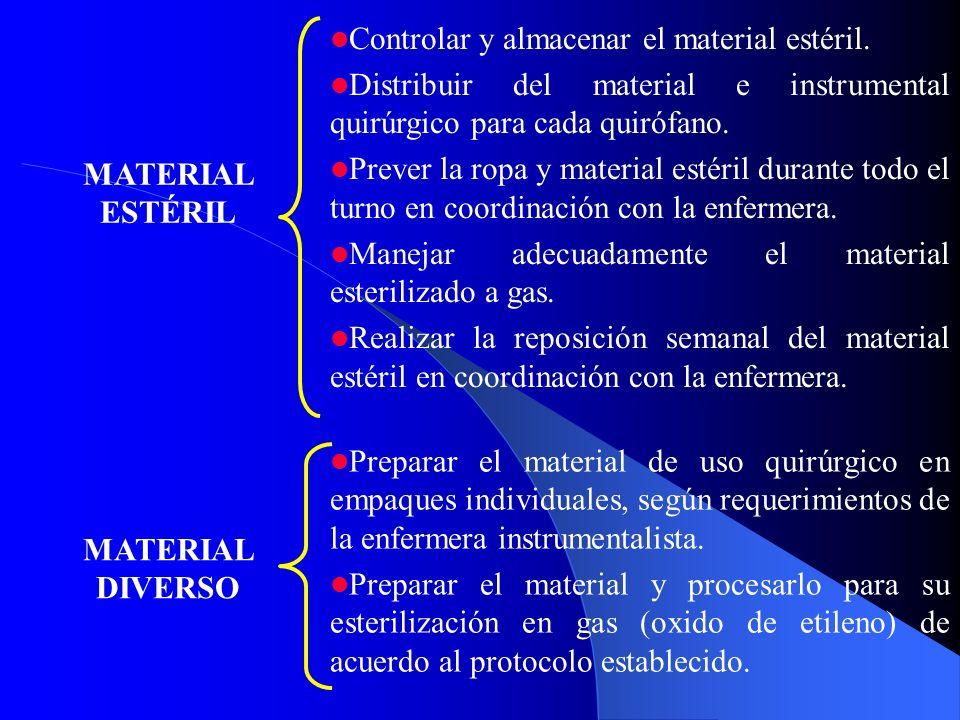 MATERIAL ESTÉRIL Controlar y almacenar el material estéril. Distribuir del material e instrumental quirúrgico para cada quirófano.
