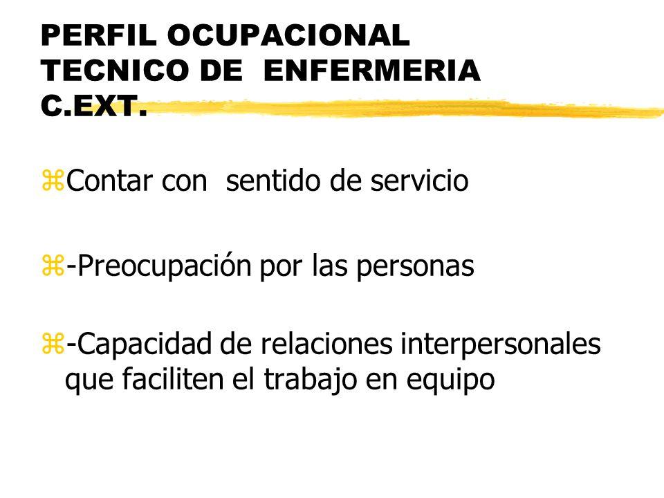 PERFIL OCUPACIONAL TECNICO DE ENFERMERIA C.EXT.