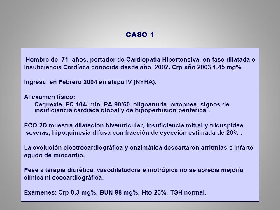 CASO 1 Hombre de 71 años, portador de Cardiopatía Hipertensiva en fase dilatada e.