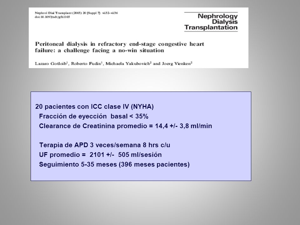 20 pacientes con ICC clase IV (NYHA)