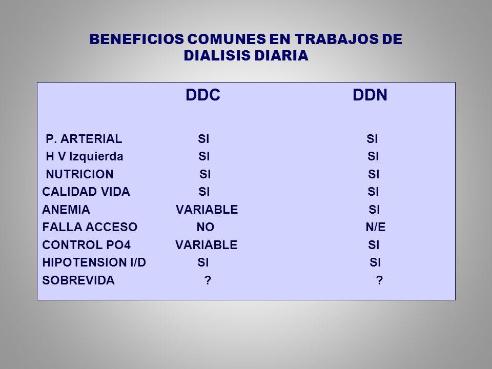 BENEFICIOS COMUNES EN TRABAJOS DE DIALISIS DIARIA