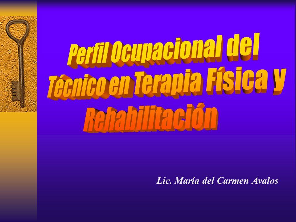 Perfil Ocupacional del Técnico en Terapia Física y Rehabilitación