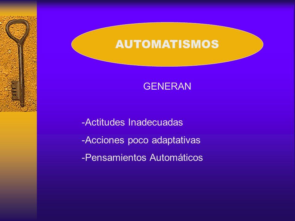 AUTOMATISMOS GENERAN Actitudes Inadecuadas Acciones poco adaptativas