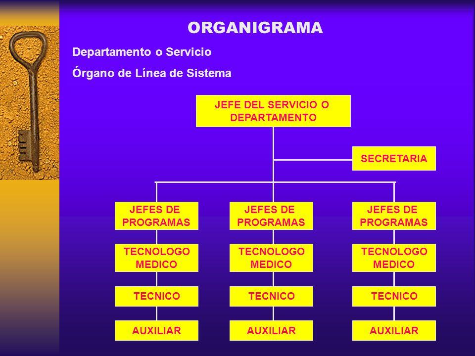 ORGANIGRAMA Departamento o Servicio Órgano de Línea de Sistema
