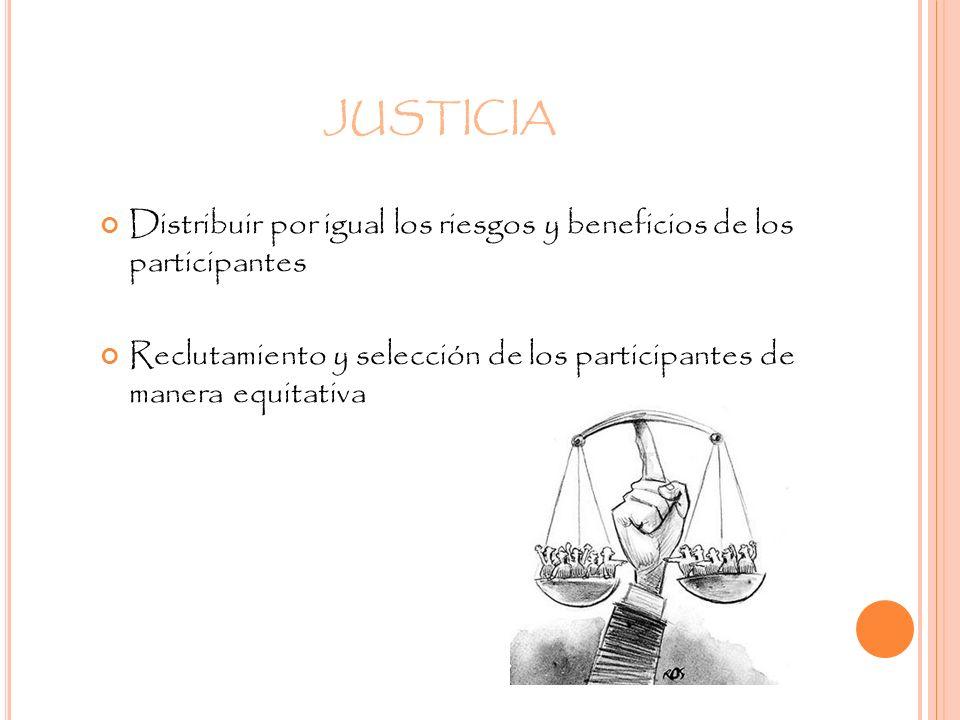 JUSTICIA Distribuir por igual los riesgos y beneficios de los participantes.