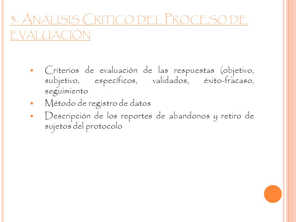 3. Análisis Critico del Proceso de evaluación