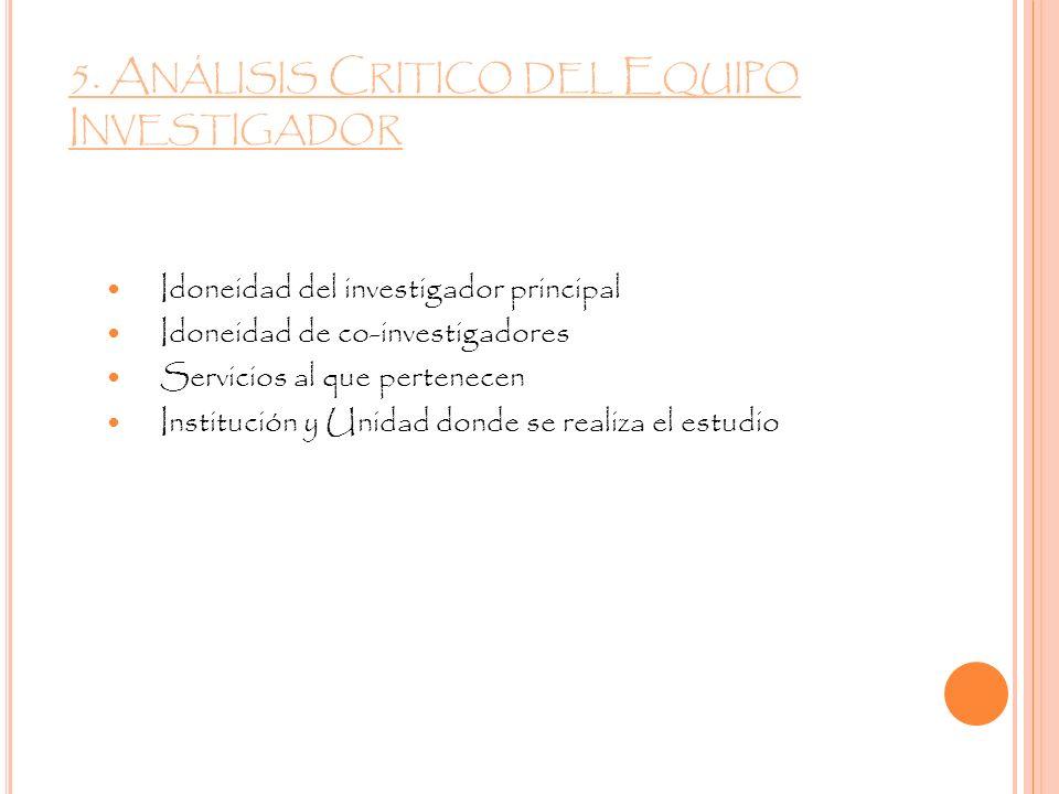 5. Análisis Critico del Equipo Investigador