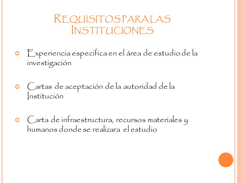 Requisitos para las Instituciones