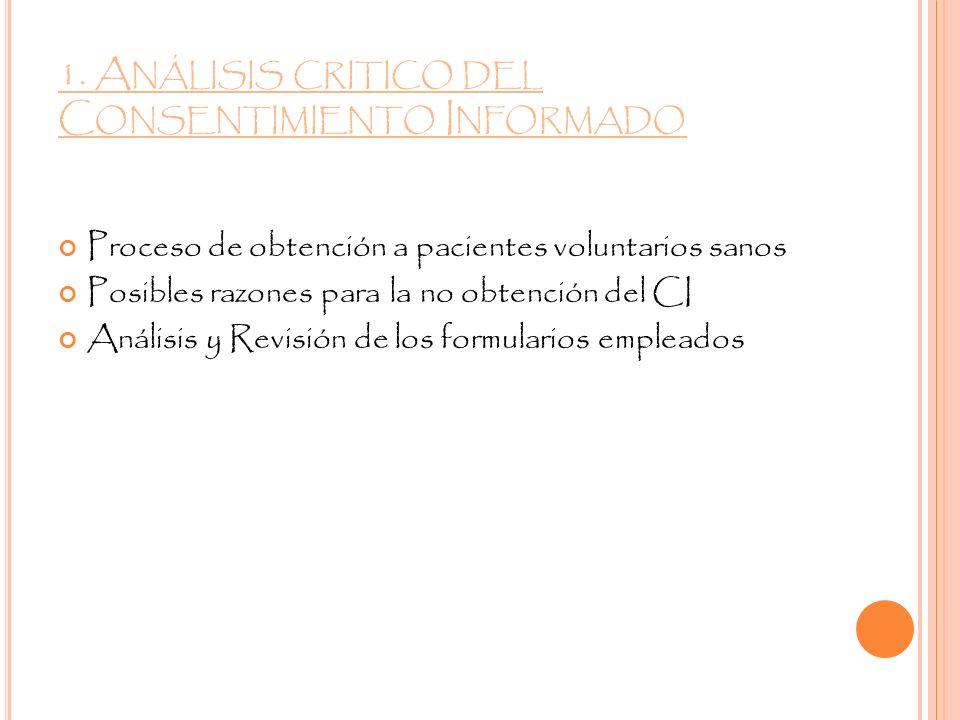 1. Análisis critico del Consentimiento Informado