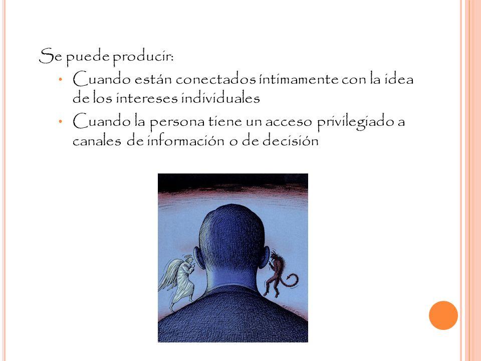 Se puede producir:Cuando están conectados íntimamente con la idea de los intereses individuales.
