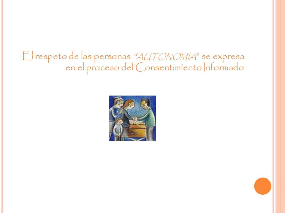 El respeto de las personas AUTONOMIA se expresa en el proceso del Consentimiento Informado