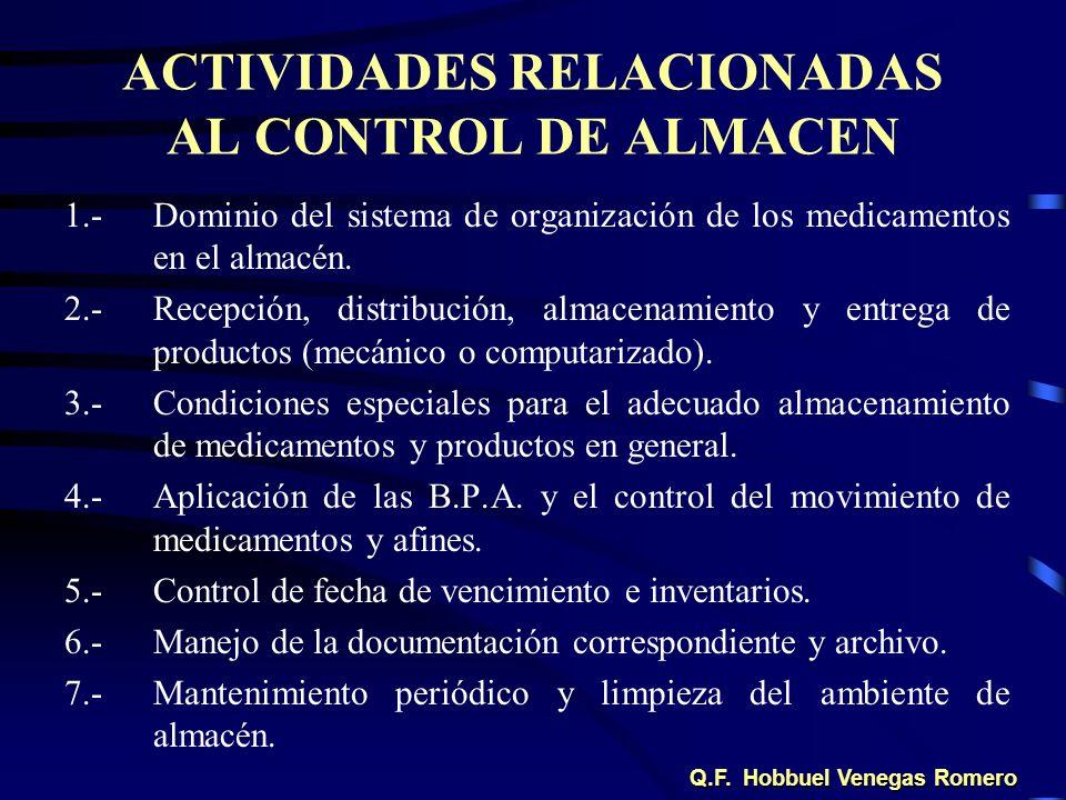 ACTIVIDADES RELACIONADAS AL CONTROL DE ALMACEN