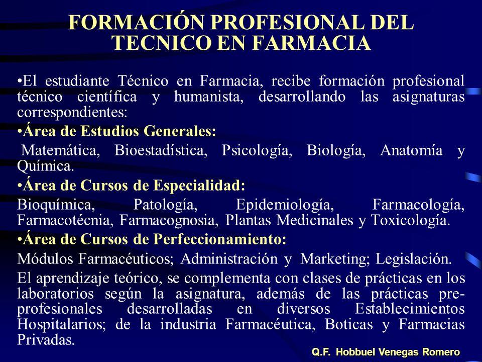 FORMACIÓN PROFESIONAL DEL TECNICO EN FARMACIA