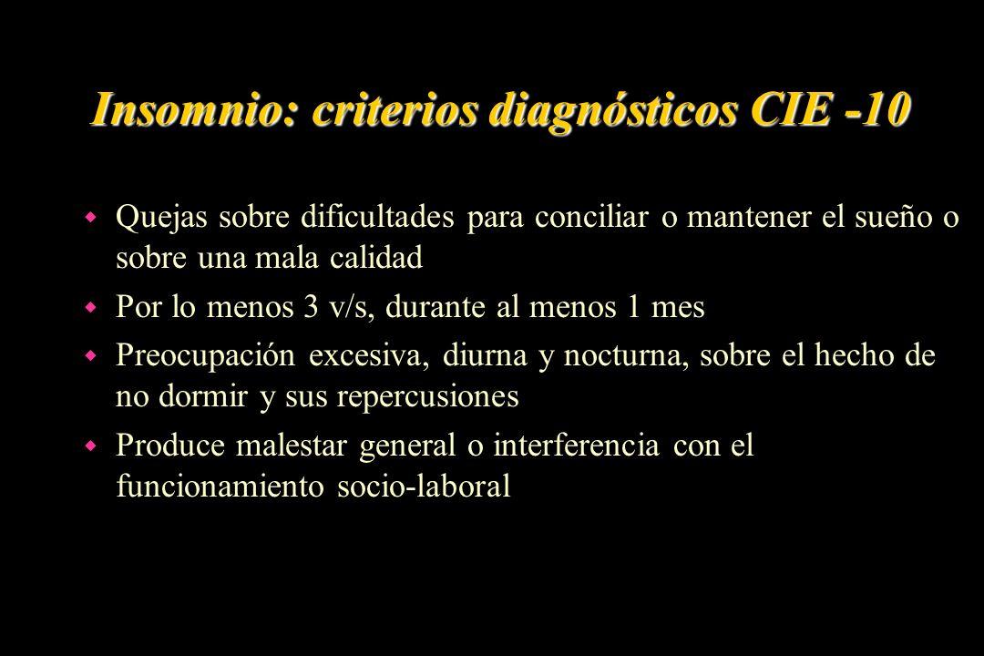 Insomnio: criterios diagnósticos CIE -10