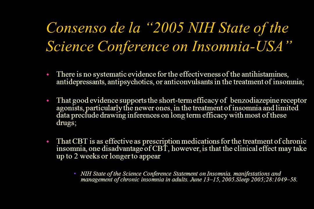 Consenso de la 2005 NIH State of the Science Conference on Insomnia-USA