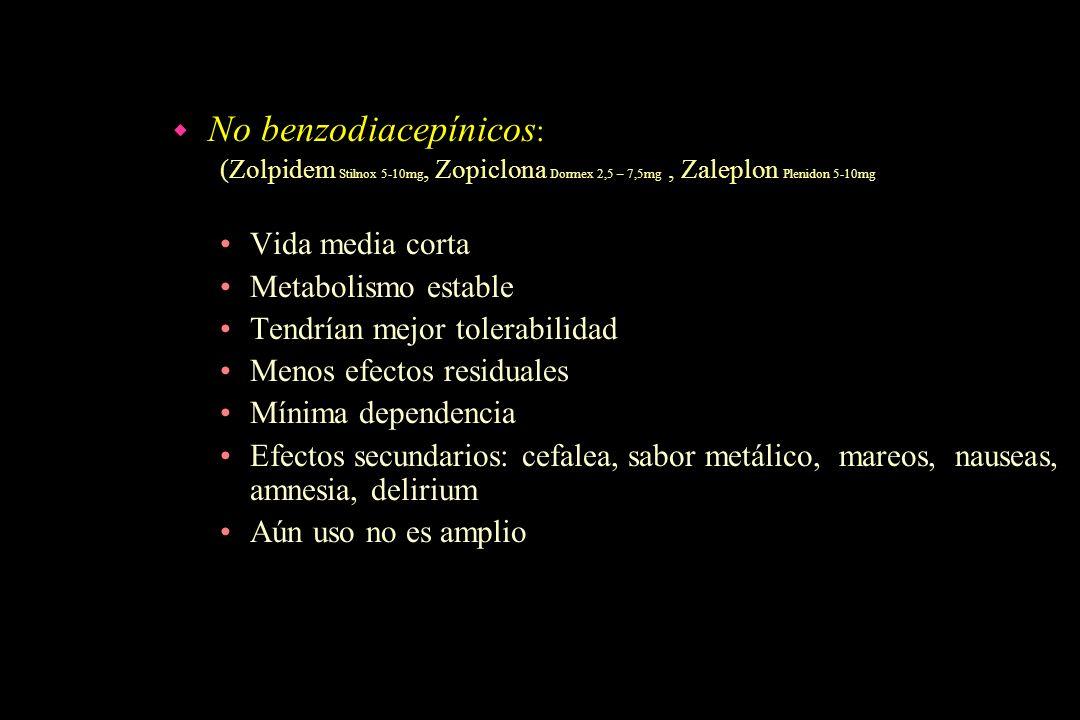 No benzodiacepínicos: