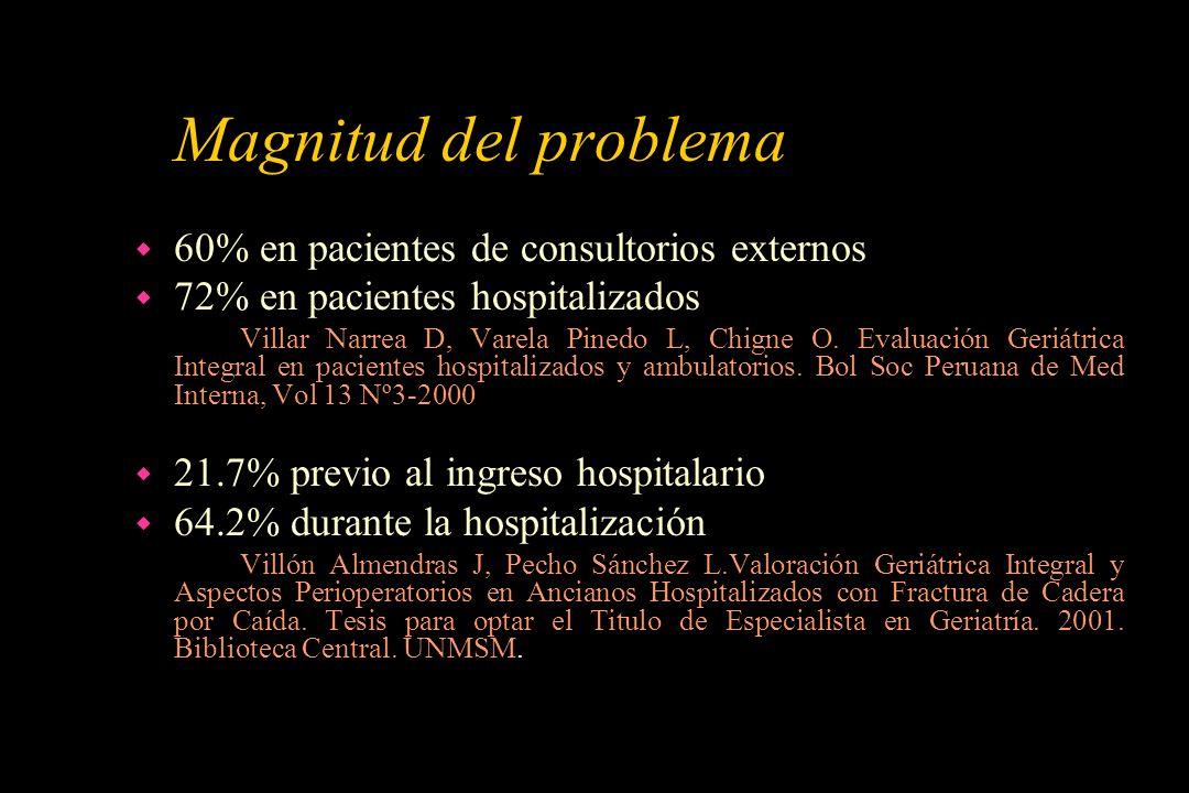 Magnitud del problema 60% en pacientes de consultorios externos