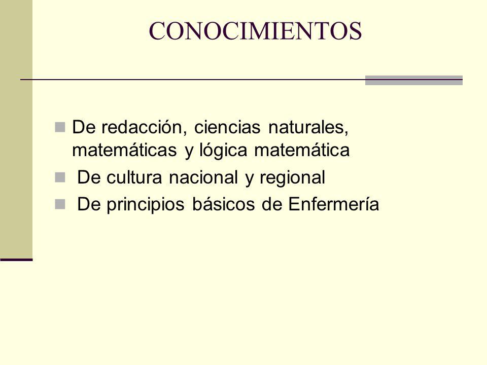CONOCIMIENTOS De redacción, ciencias naturales, matemáticas y lógica matemática. De cultura nacional y regional.