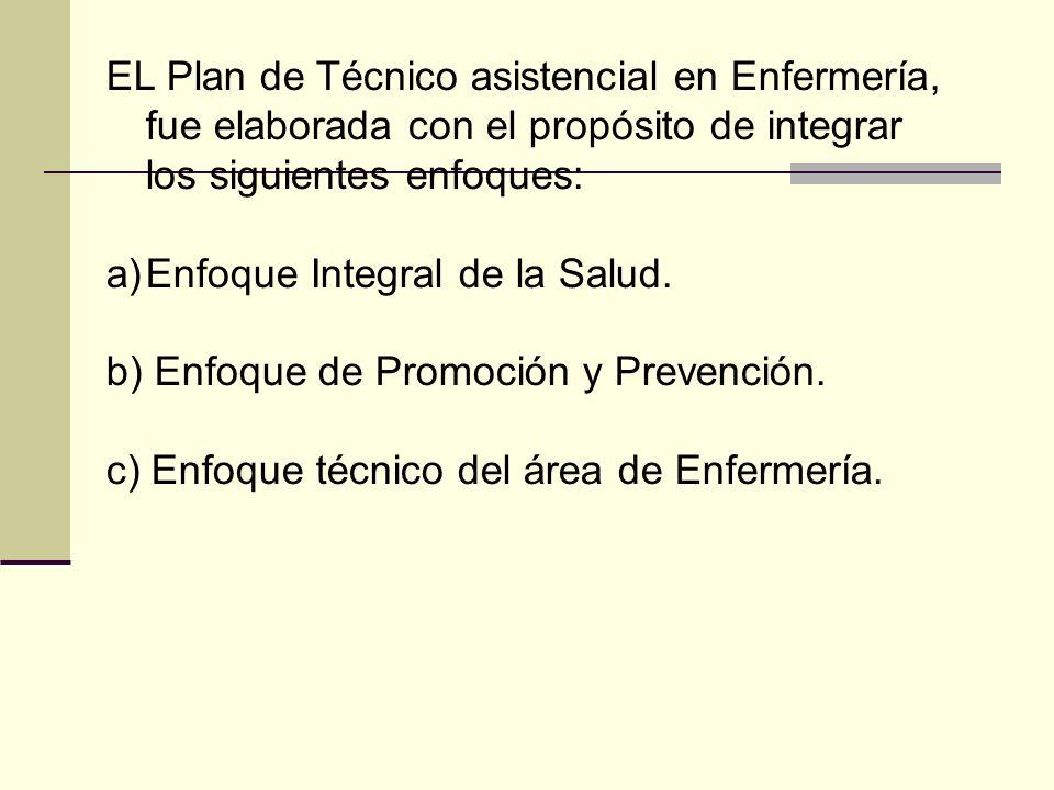 EL Plan de Técnico asistencial en Enfermería, fue elaborada con el propósito de integrar los siguientes enfoques: