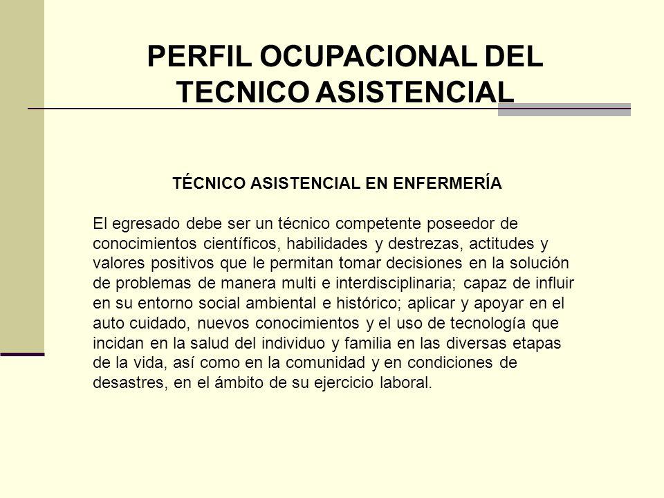 PERFIL OCUPACIONAL DEL TECNICO ASISTENCIAL