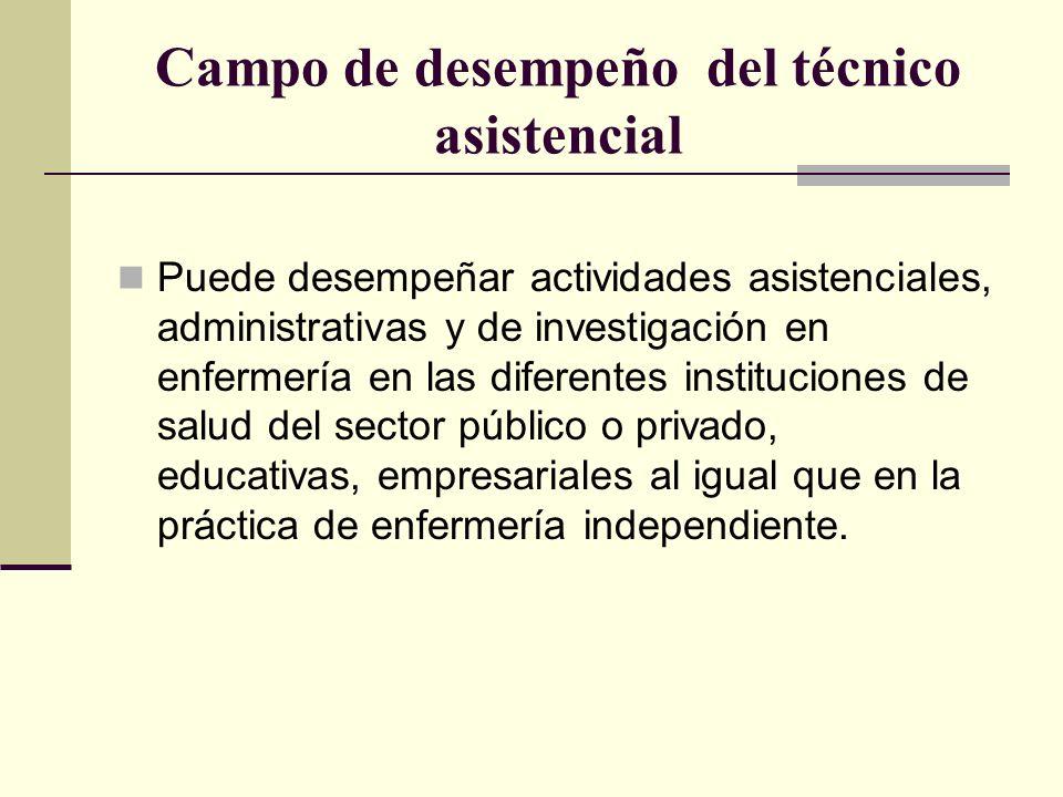 Campo de desempeño del técnico asistencial