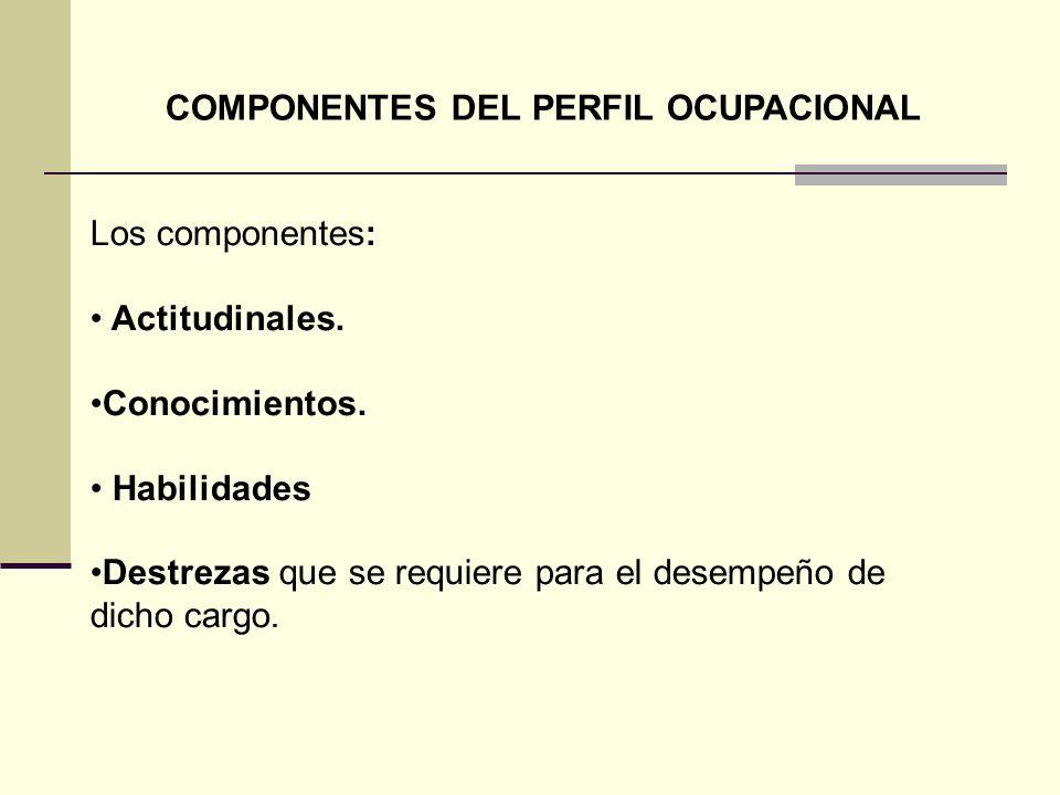 COMPONENTES DEL PERFIL OCUPACIONAL