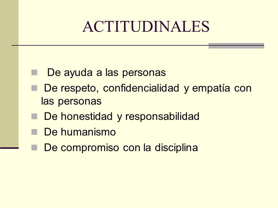 ACTITUDINALES De ayuda a las personas