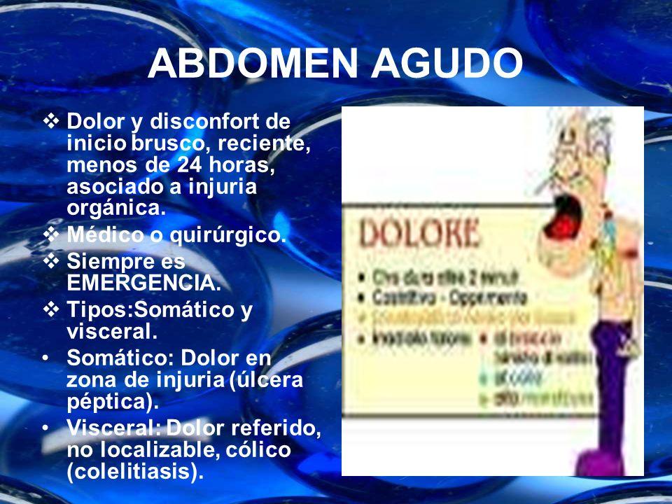 ABDOMEN AGUDODolor y disconfort de inicio brusco, reciente, menos de 24 horas, asociado a injuria orgánica.
