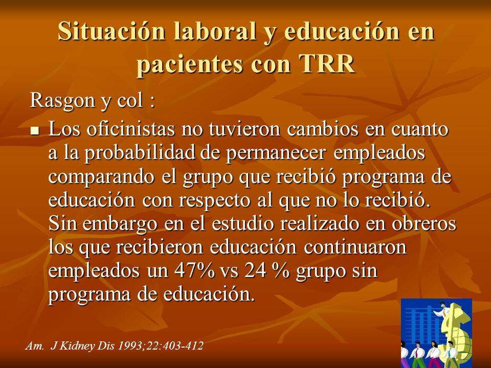 Situación laboral y educación en pacientes con TRR
