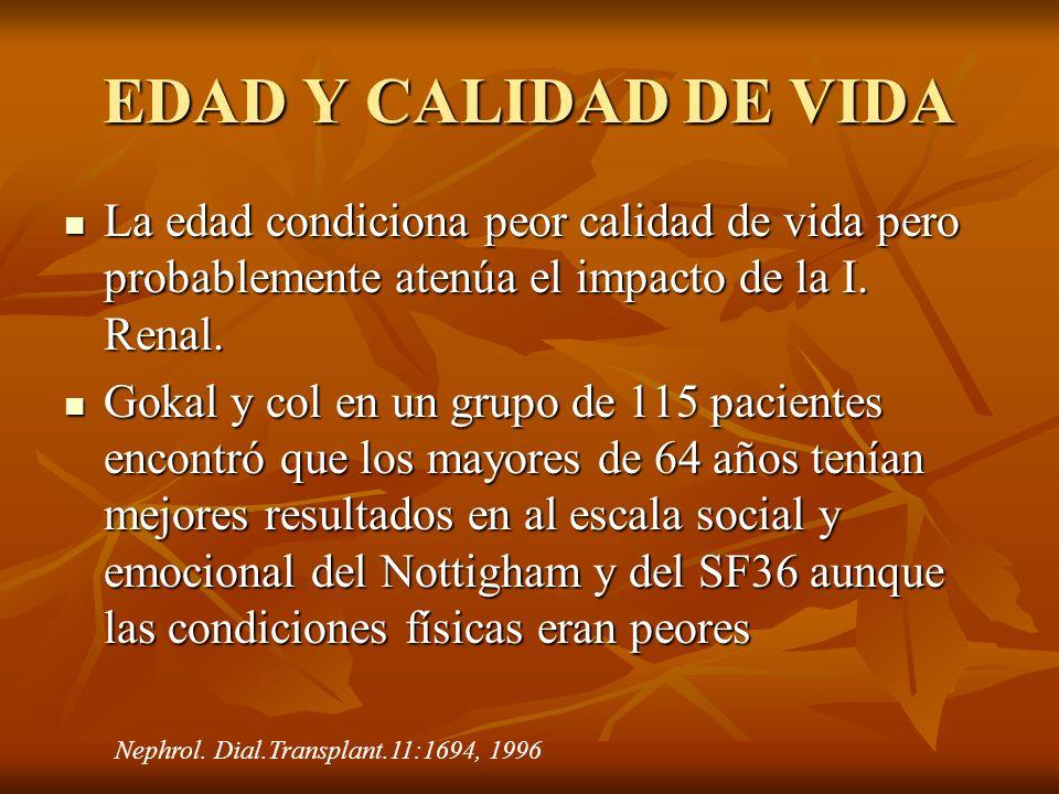 EDAD Y CALIDAD DE VIDA La edad condiciona peor calidad de vida pero probablemente atenúa el impacto de la I. Renal.