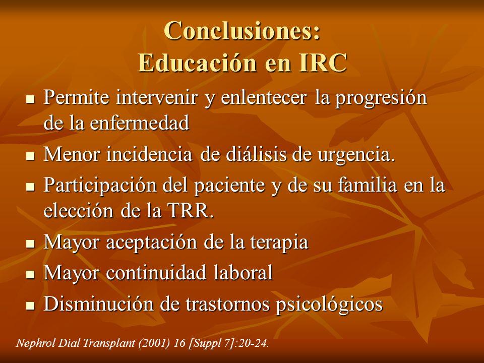 Conclusiones: Educación en IRC