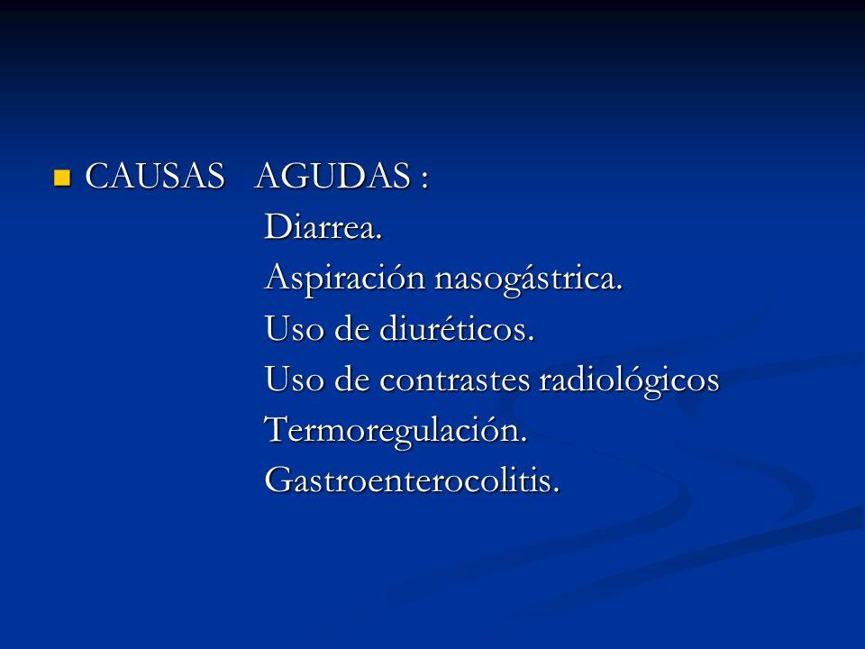 CAUSAS AGUDAS : Diarrea. Aspiración nasogástrica. Uso de diuréticos. Uso de contrastes radiológicos.