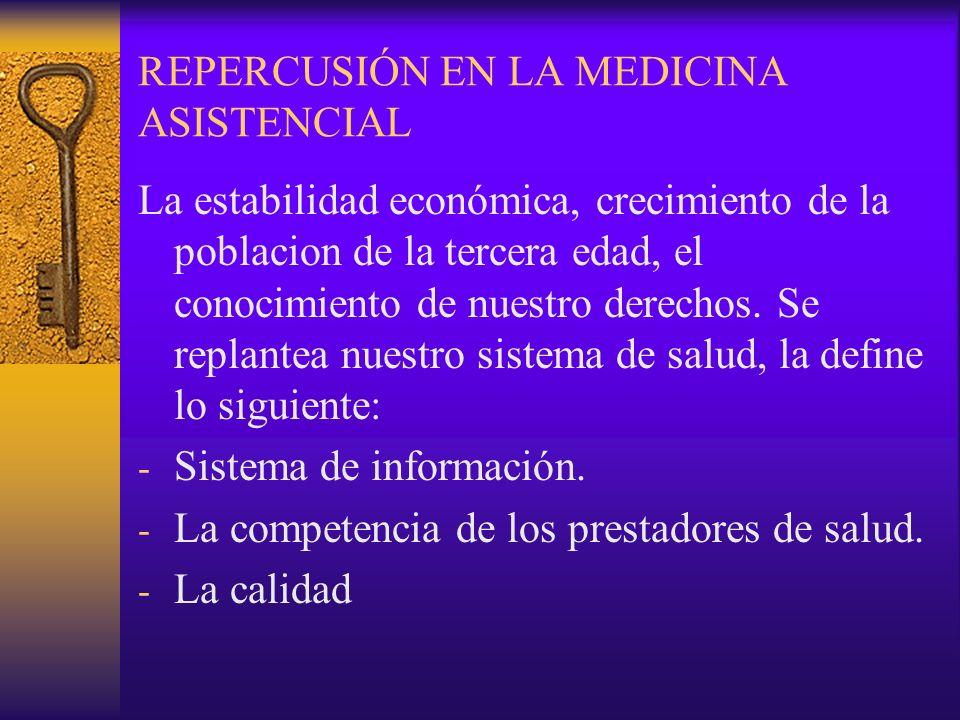 REPERCUSIÓN EN LA MEDICINA ASISTENCIAL