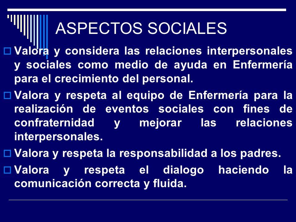 ASPECTOS SOCIALES Valora y considera las relaciones interpersonales y sociales como medio de ayuda en Enfermería para el crecimiento del personal.