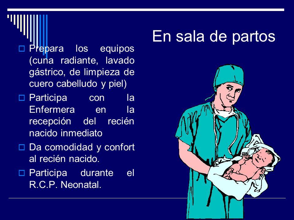 En sala de partos Prepara los equipos (cuna radiante, lavado gástrico, de limpieza de cuero cabelludo y piel)