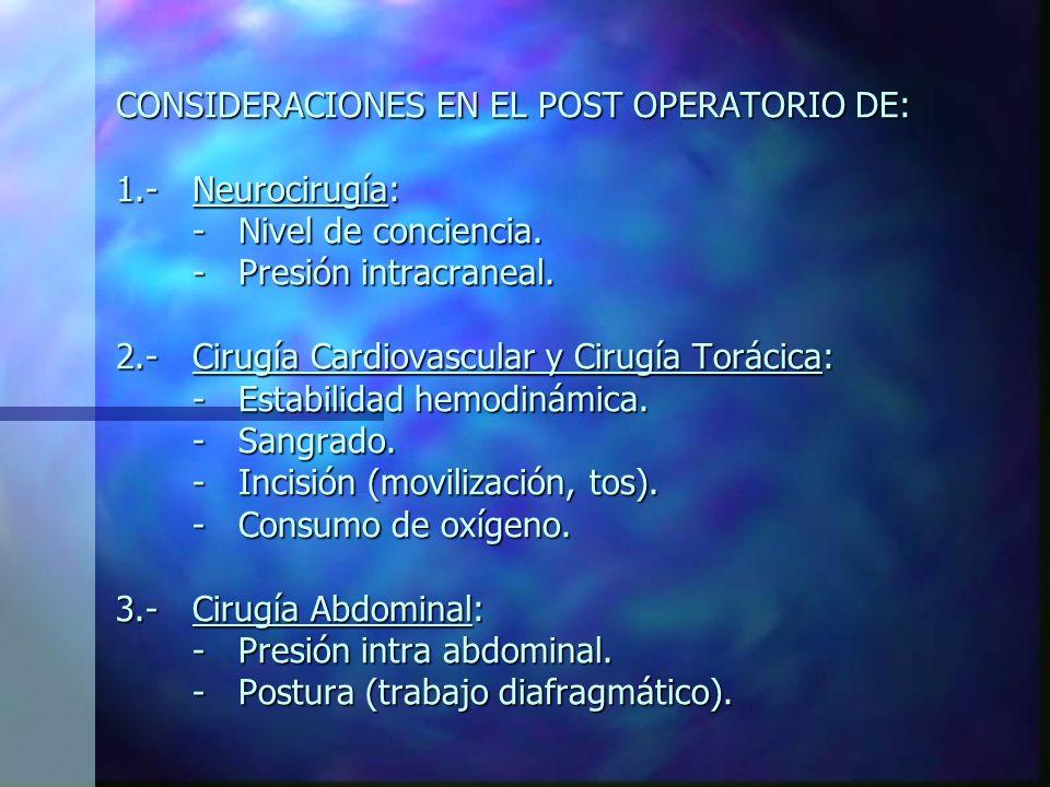 CONSIDERACIONES EN EL POST OPERATORIO DE: 1. -. Neurocirugía: