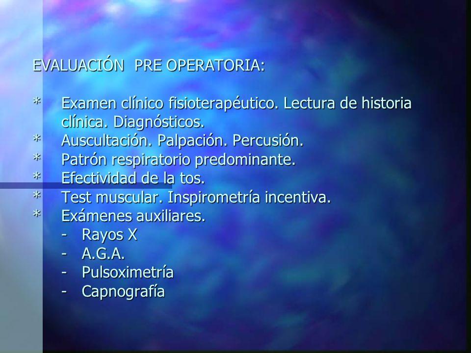 EVALUACIÓN PRE OPERATORIA:. Examen clínico fisioterapéutico
