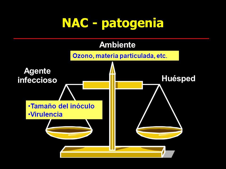 NAC - patogenia Ambiente Agente infeccioso Huésped Tamaño del inóculo