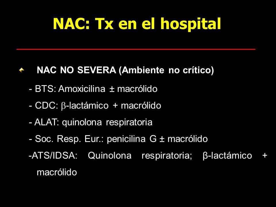 NAC: Tx en el hospital NAC NO SEVERA (Ambiente no crítico)