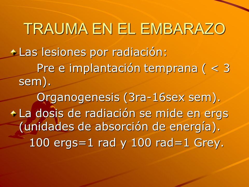 TRAUMA EN EL EMBARAZO Las lesiones por radiación: