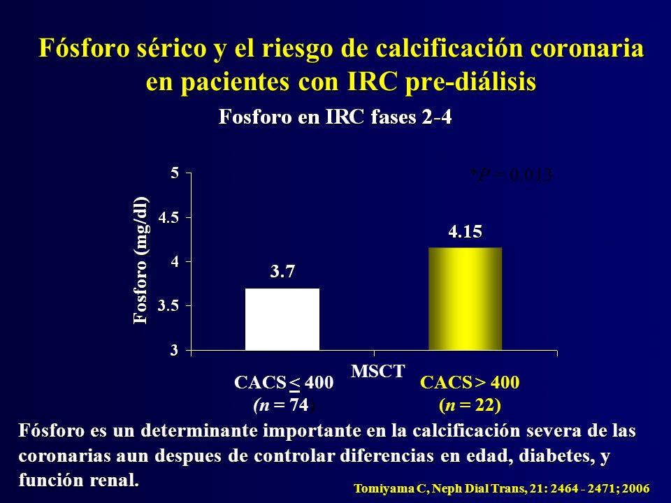 Fósforo sérico y el riesgo de calcificación coronaria en pacientes con IRC pre-diálisis