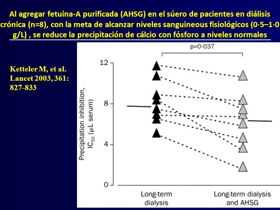Al agregar fetuina-A purificada (AHSG) en el súero de pacientes en diálisis crónica (n=8), con la meta de alcanzar niveles sanguineous fisiológicos (0·5–1·0 g/L) , se reduce la precipitación de cálcio con fósforo a niveles normales