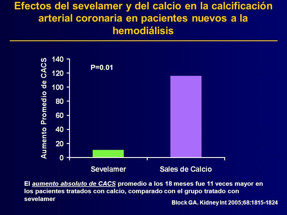 Efectos del sevelamer y del calcio en la calcificación arterial coronaria en pacientes nuevos a la hemodiálisis