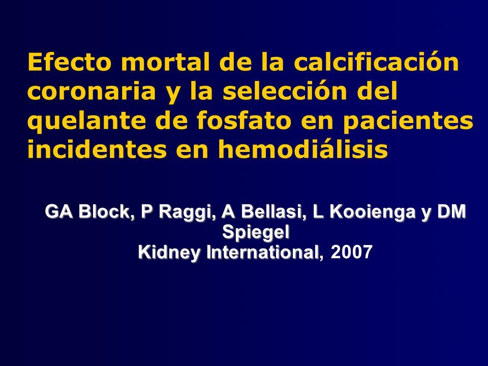 Efecto mortal de la calcificación coronaria y la selección del quelante de fosfato en pacientes incidentes en hemodiálisis