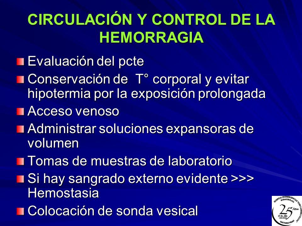 CIRCULACIÓN Y CONTROL DE LA HEMORRAGIA