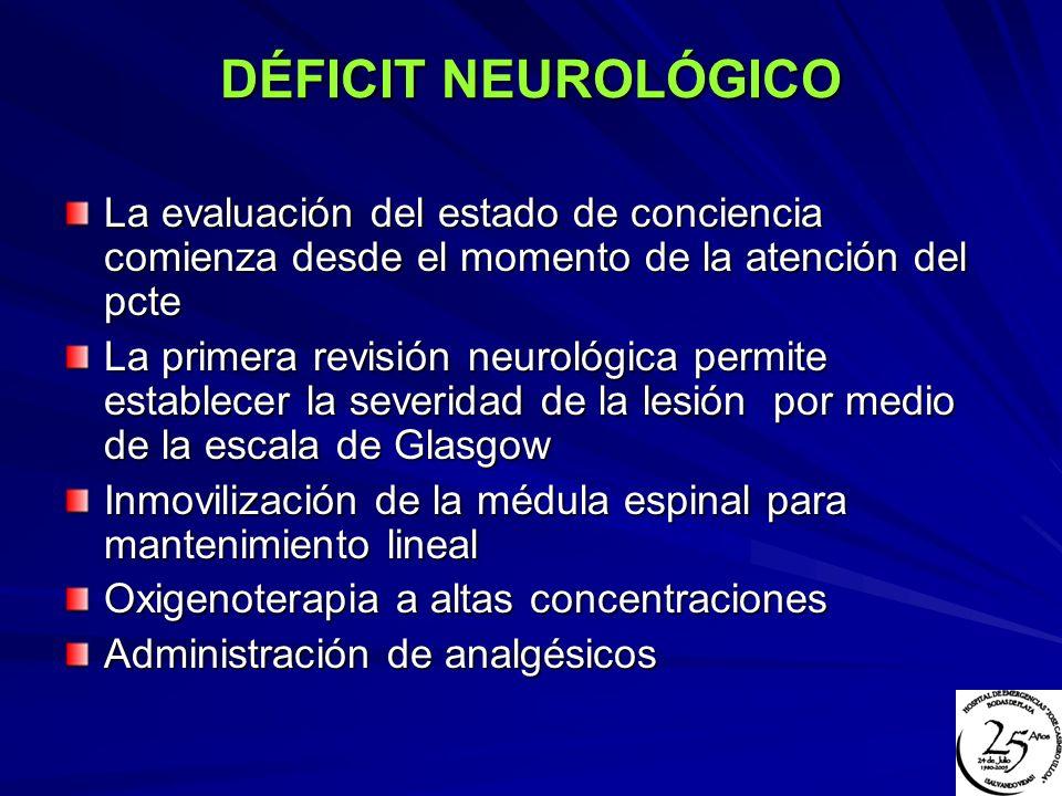 DÉFICIT NEUROLÓGICO La evaluación del estado de conciencia comienza desde el momento de la atención del pcte.